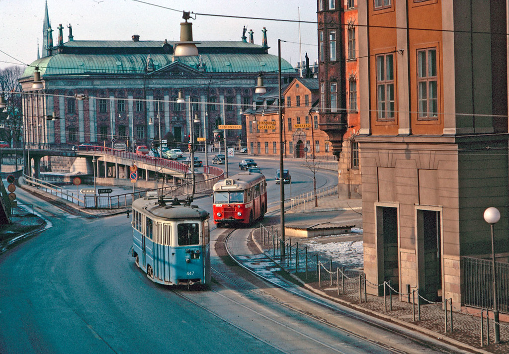 Bus and tram on Munkbron in Stockholm 1964