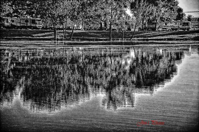 Lazy Lake black and white