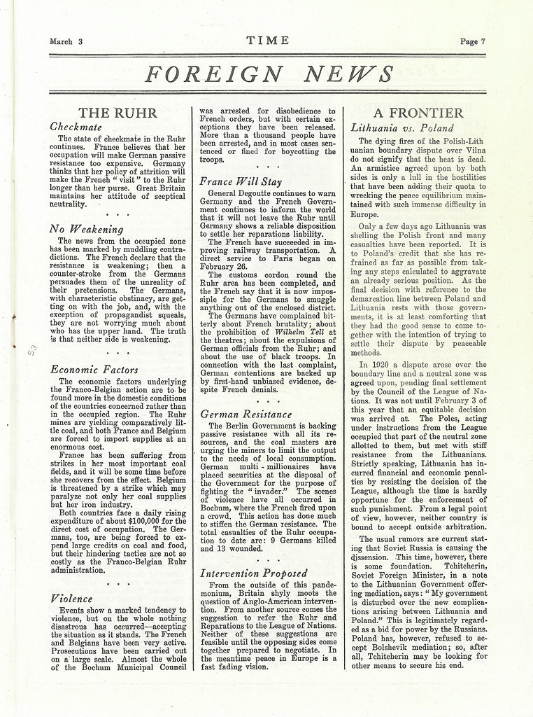 The first issue of Time Magazine, March 3, 1923 - page 7