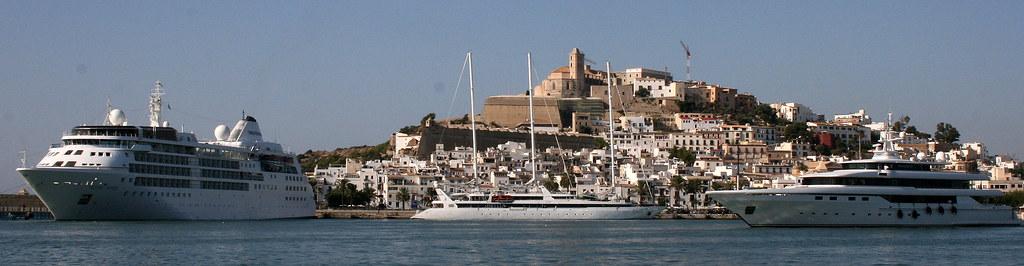Port of Ibiza seen from Calma bar @ Marina Ibiza: Silver Wind, Le Ponant & Moneikos