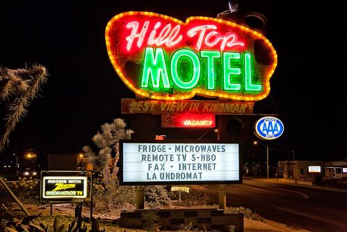 arizona route66 neon motel aaa kingman hilltopmotel