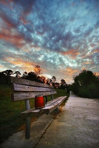 sky sunrise bench landscape louisiana wideangle coffeemug parkbench hdr naturepreserve 10mm canonefs1022mmf3545usm mrgreenjeans gaylon blackwaterconservationarea manualhdr gaylonkeeling