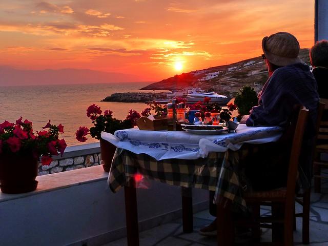 Taverna and sunset view
