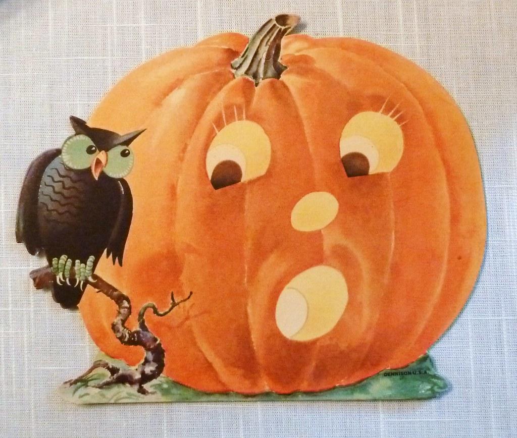 Vintage Halloween Decorations Dennison Pumpkin And Owl Di