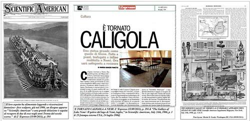 """`E TORNATO CALIGOLA A NEMI. L' Espresso (15/09/2011), p. 194 & """"The Galleys of Lake Nemi / Il galere del lago di Nemi, luglio,"""" in Scientific American, July 24th, 1906, p. 1 & 25 [stampa esterna USA, 24 luglio 1906]."""