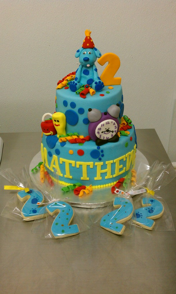 Remarkable Blues Clues Birthday Cake And Matching Cookies Clarissa Lopez Personalised Birthday Cards Fashionlily Jamesorg