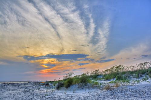 ocean pink blue sunset sun beach clouds sand purple southcarolina sullivansisland
