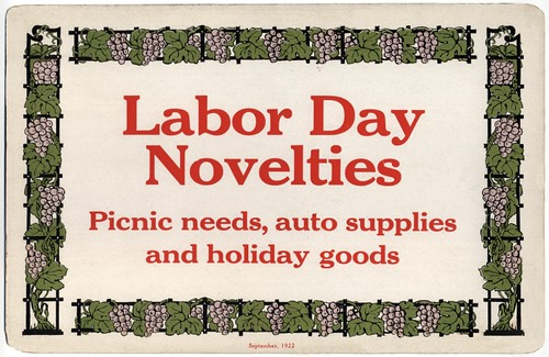 Labor Day Novelties Store Sign, 1922