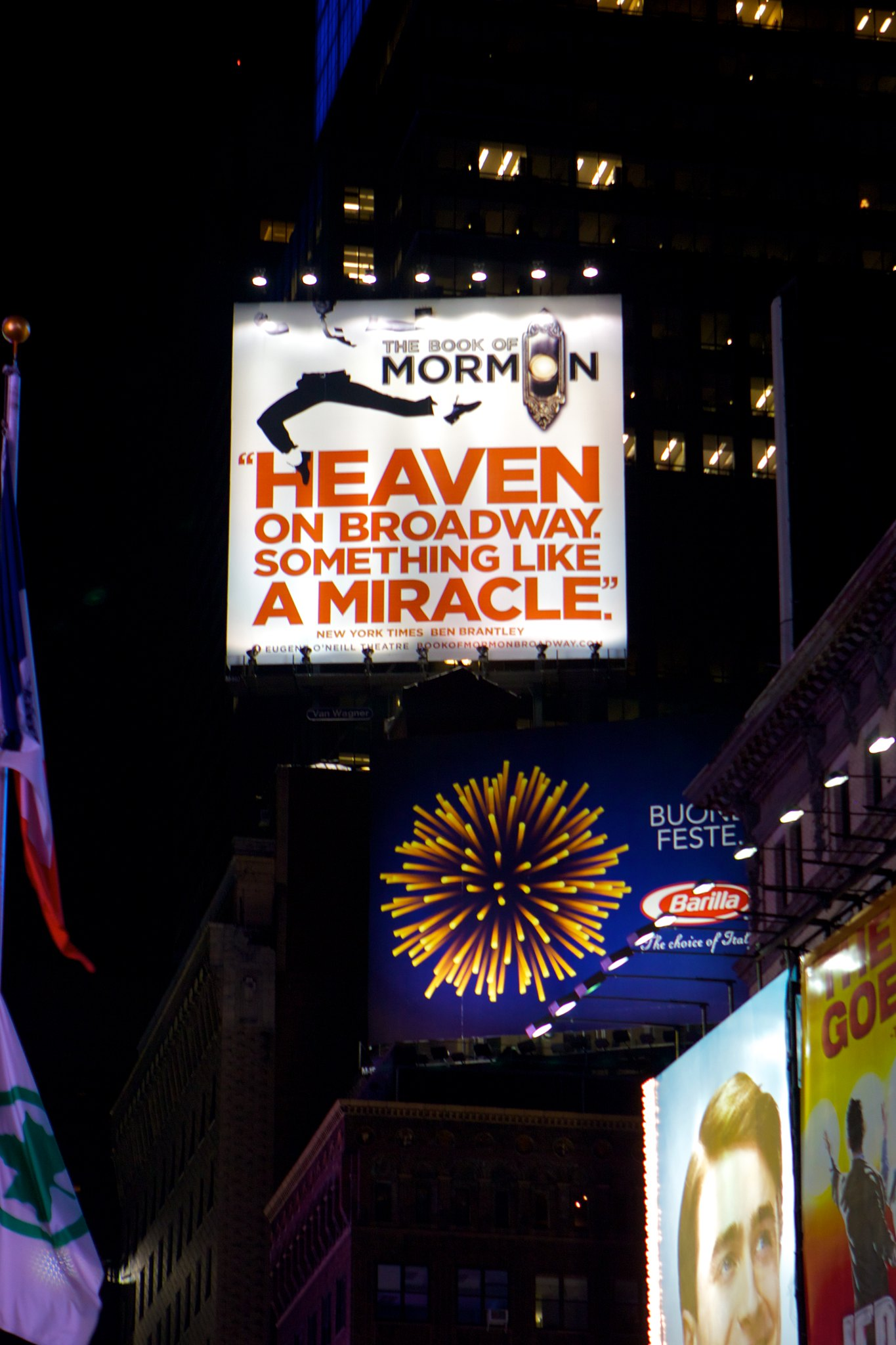 Advertisement for The Book of Mormon, this year's sensation on Broadway