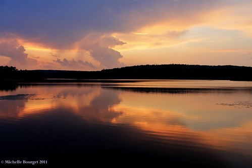 trees sunset sun lake storm reflection water clouds massachusetts thunderstorm brimfield michellebourget