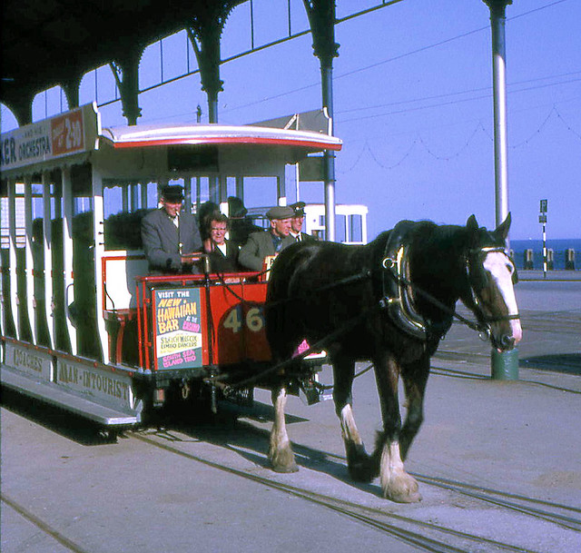 Douglas Bay Horse Tramway, Isle of Man - Car 46 leaving Derby Castle on the 1st June 1967.  Car 46 was built by G.C.Milnes, Voss & Co Ltd and delivered in 1909.  According to Wikipedia this car was scrapped on the 'other island' in 2001.