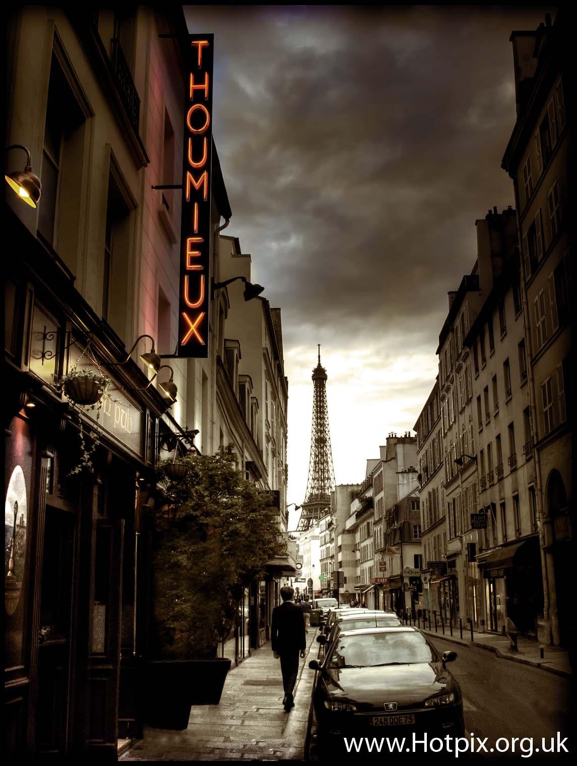 tony,smith,tonysmith,hotpix,tonysmithhotpix,tonysmithotpix,france,paris,europe,sepia,selective,colour,tour,tower,Eifel,Eifell,Eiffel,Hotel,Thoumieux,La,Brasserie,street,scene,streets,parisian,parisien,evening,dusk,blue,hour,ColorPhotoAward