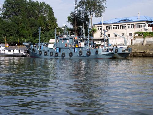 North Korean ship and shoreline from Dandong based river cruise.