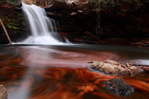 Fiery Autumn Waterfall   by ForestWander.com