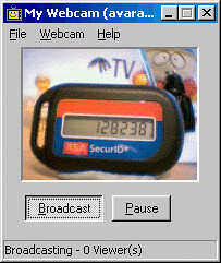 RSA SecurID token on a webcam | Someone in the Santa Cruz of