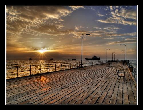 bridge sea sky clouds sunrise wow bestof framed cyprus olympus september hdr limassol e500 zd blackframe 1454mm abigfave