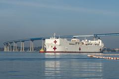 USNS Mercy (T-AH 19) transits San Diego Bay on Sunday. (U.S. Navy/MC3 Eric Coffer)