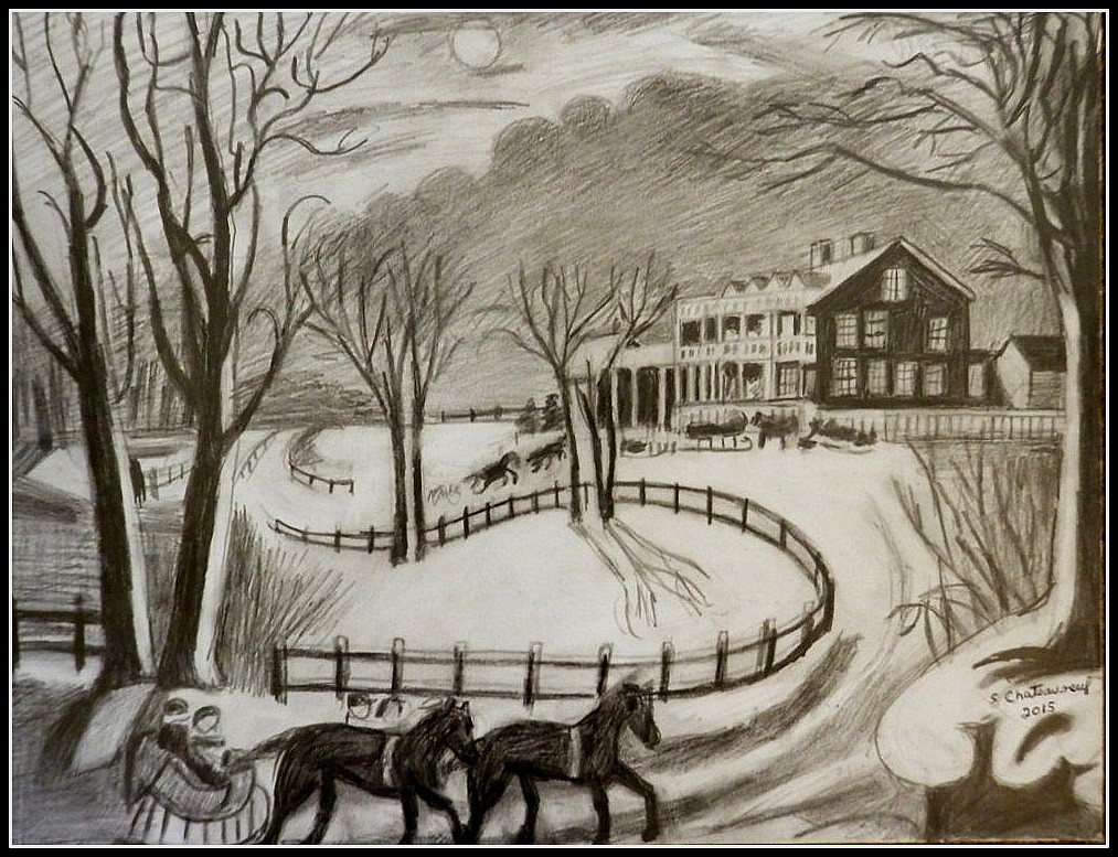 Black white pencil drawing of currier ives winter scen flickr
