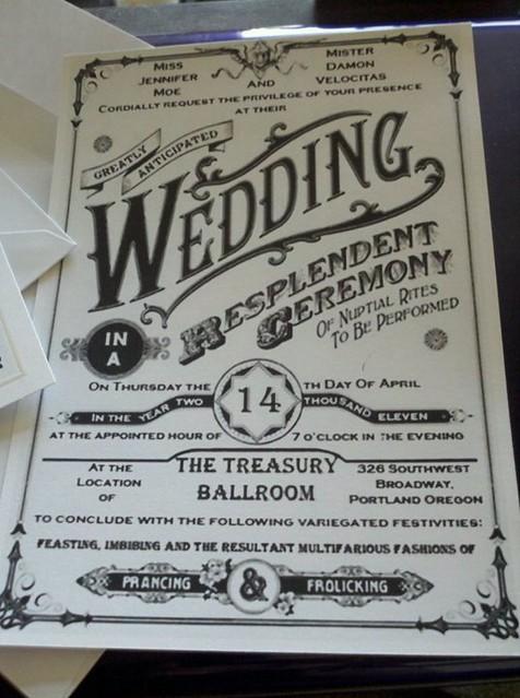 Jenny and Damon old fashioned wedding invitation