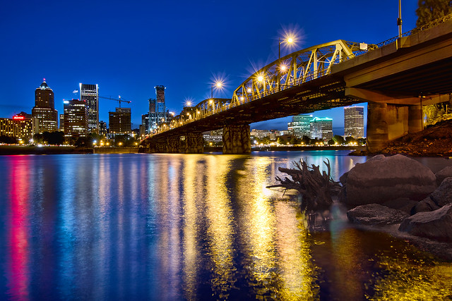 Dancing Lights on the Willamette River at Blue Hour - HDR