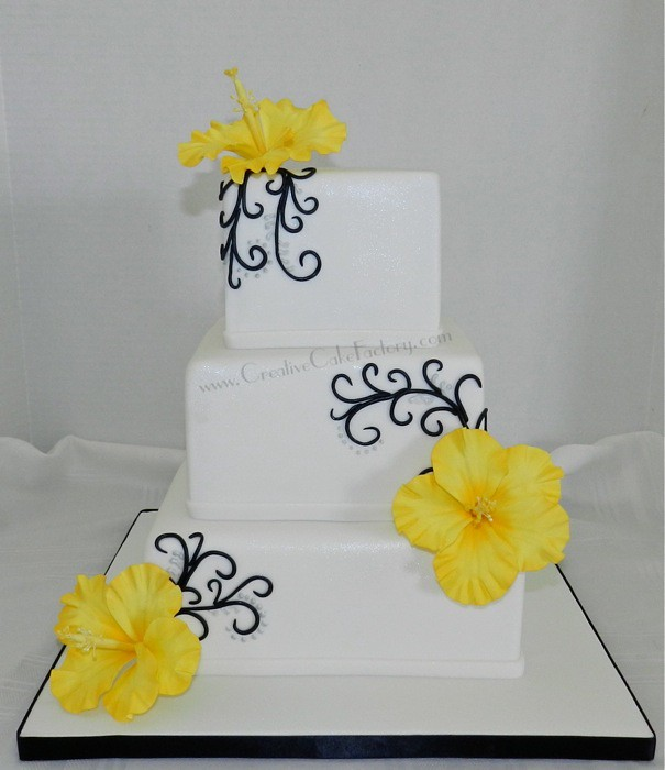 Yellow Hibiscus Wedding Cake 3 Tier Wedding Cake With Blac Flickr