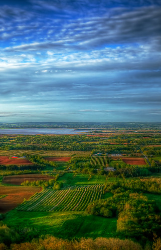 trees sky sun water nova sunrise novascotia farm hills valley bayoffundy agriculture scotia hdr highdynamicrange lookoff