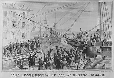 The Destruction of Tea at Boston Harbor. 1773. Copy of lithograph by Sarony & Major, 1846., 1931 - 1932