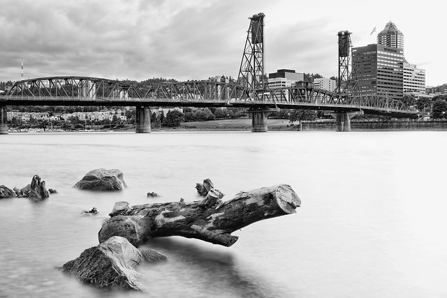 Hawthorne Bridge in Black and White