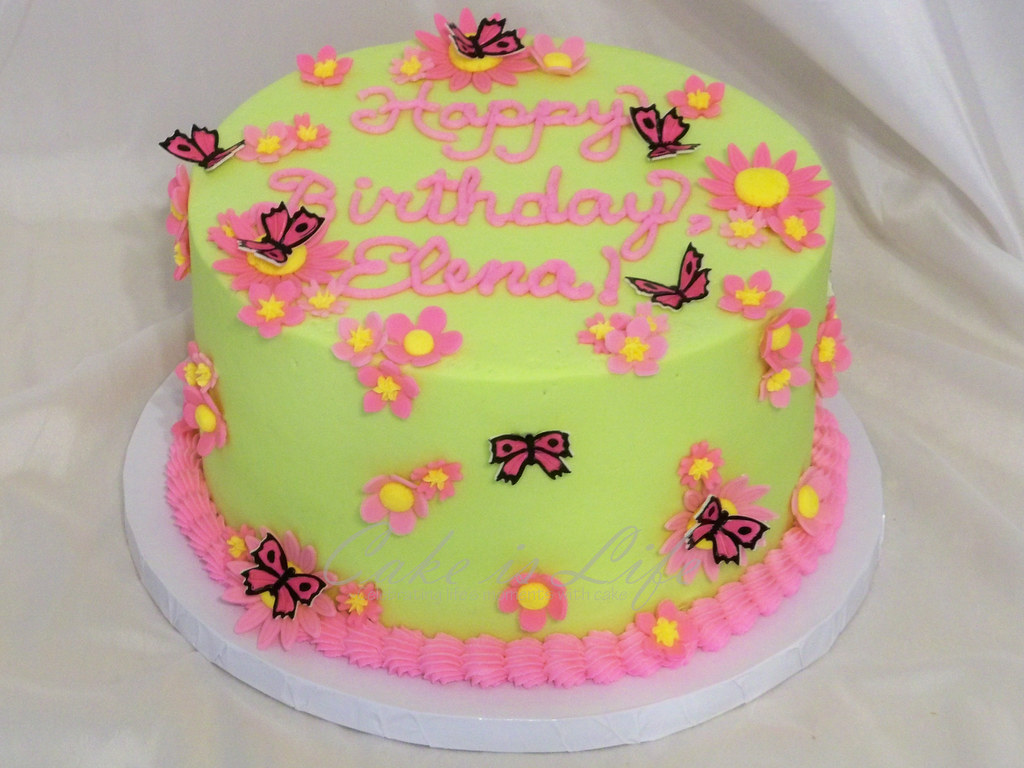 Sensational Butterfly Birthday Cake 07 2011 A Simple Butterfly And Fl Flickr Funny Birthday Cards Online Alyptdamsfinfo