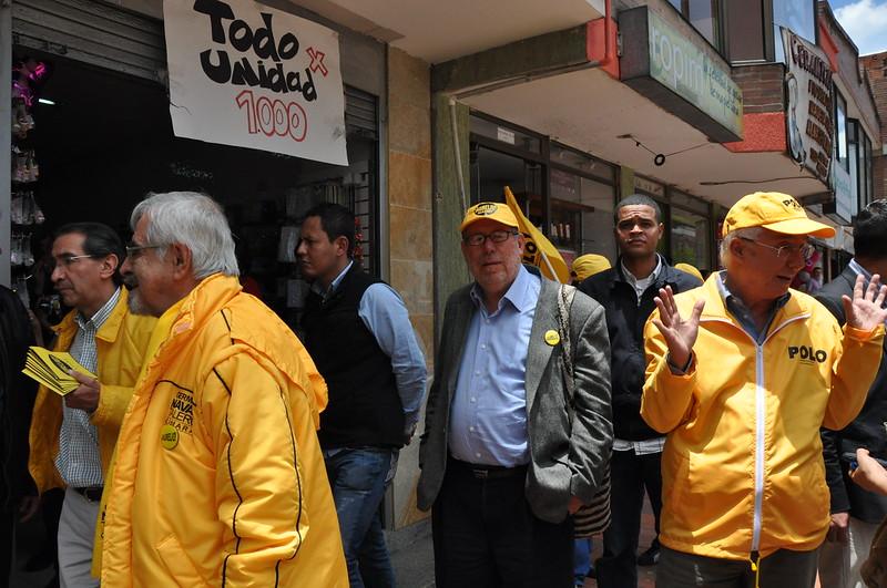 Caravana por los derechos y por los usuarios en Teusaquillo con Jorge Robledo, Rafael Colmenares y Germán Navas Talero. 10-09-11