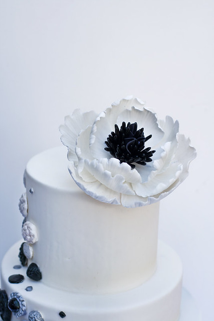 Black, white and silver button Wedding Cake