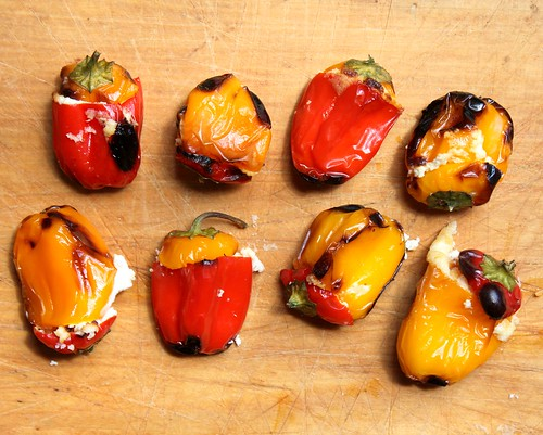 Grilled Mini Sweet Peppers stuffed with Cream Cheese & Goat Cheese | by Carolyn McCaffrey Stalnaker