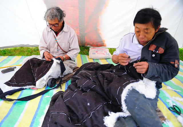 In Tibetan homes men have been the ones who make clothes.