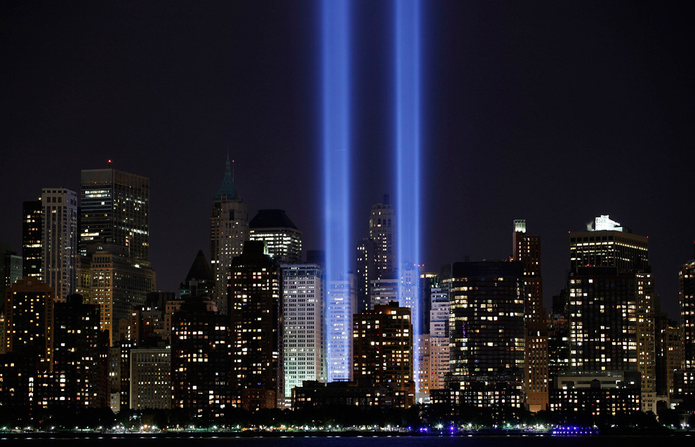 9/11 Memorial - two blue lights shine where the World Trade Center towers once stood