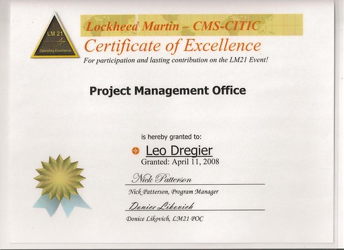 excellence certificate pmo