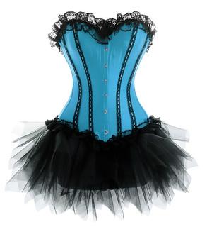 turquoise burlesque laceup corset  tutu set  corset