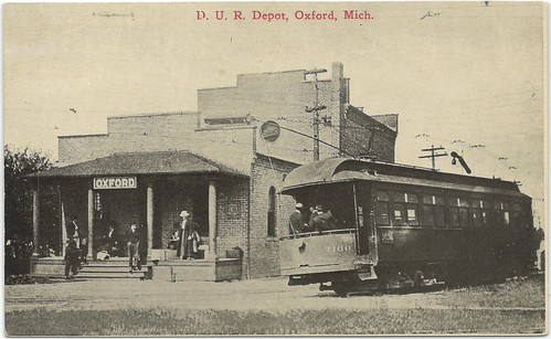 DEPOT Oxford MI Oakland DUR Electric Railroad Interurban Depot Detroit United Railway RR Train Horse Drawn Wagons Buggys Dirt Streets Photographer Unknown Unsent Card 21791
