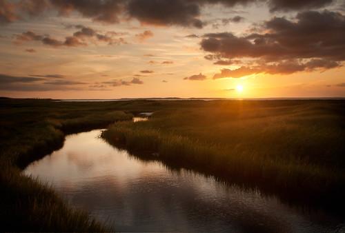 sunset sky beach grass clouds reflections stream novascotia marsh