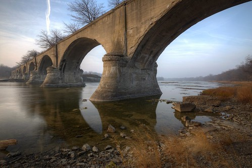 morning bridge trees water clouds reflections river landscape outdoors dawn pier rocks arch roman arches riverbed grasses geology northwestohio discoverohio watervilleohio limatoledotractioncompany oldwatervillebridge