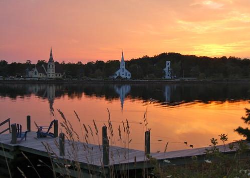 sunset canada reflection dock novascotia chairs churches ducks grasses mahonebay vanagram sailsevenseas