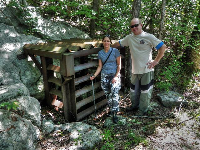 Little Bat Cave entrance and gate, Kristen Bobo, Alfred Crabtree, Warren Co, TN