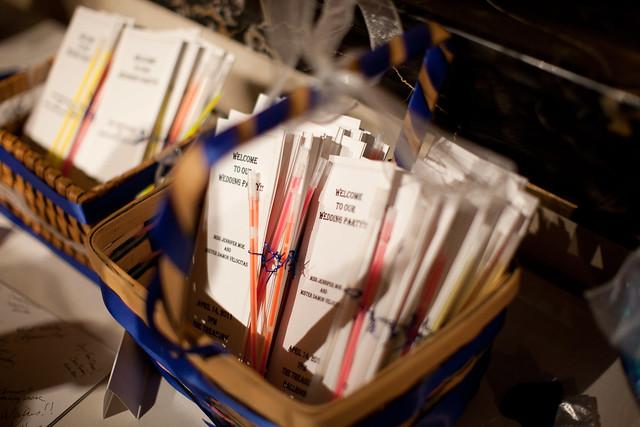 Wedding party programs and glow sticks!