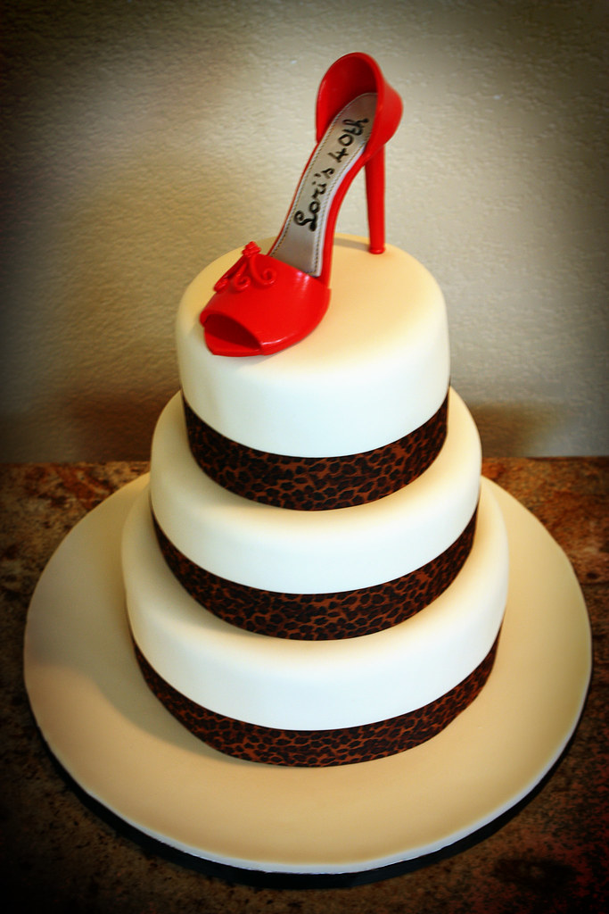 Enjoyable 40Th Birthday Cake With Red High Heel Made This For A 40Th Flickr Birthday Cards Printable Opercafe Filternl