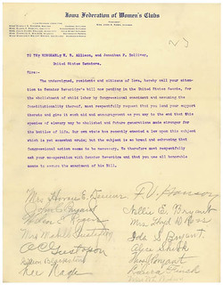 Petition from the Iowa Federation of Women's Clubs in Favor of Child Labor Reform, 12/21/1907