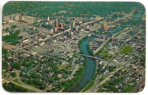 Lansing MI Aerial View of Lansing Downtown and Region Grand River winding through town Penrod Photo and Dexter Card 18399C Unsent | by UpNorth Memories - Donald (Don) Harrison