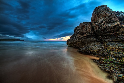 ocean longexposure blue sunset sea cloud beach rock golden scotland waves magic formation bluehour