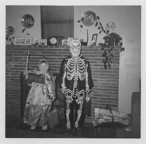 Two children dressed in Halloween costumes