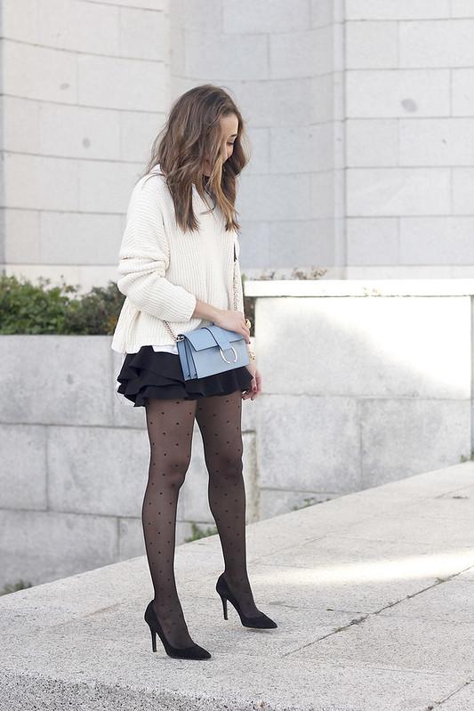shorts with ruffles white sweater black heels uterqüe bag 04