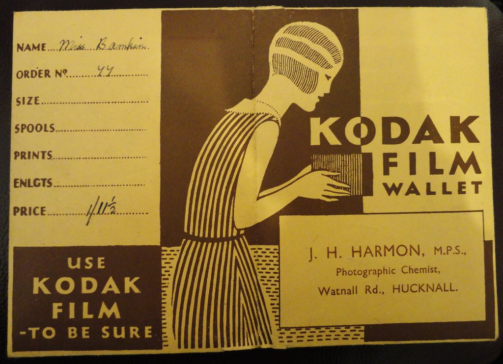 'Some day my prints will come' ... KODAK FILM WALLET, featuring a 'box' camera.