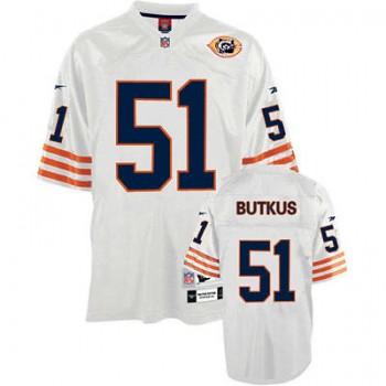 buy popular 7b3ac 8db68 Chicago Bears #51 Dick Butkus Bear Patch Throwback White J ...
